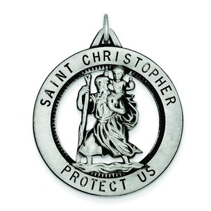 Sterling Silver Saint Christopher Round Medal