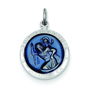 Sterling Silver Resin Saint Christopher Round Medal
