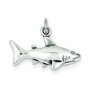 "Sterling Silver Antiqued Shark Charm & 18"" Chain"