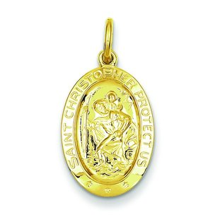 Sterling Silver Gold Plated Saint Christopher Medal