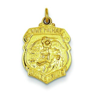 Sterling Silver Gold Plated Saint Michael Medal