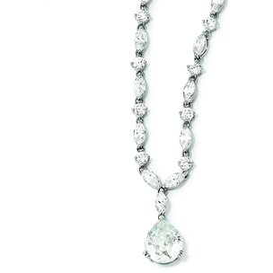 Sterling Silver Rhodium Plated CZ Necklace 17""