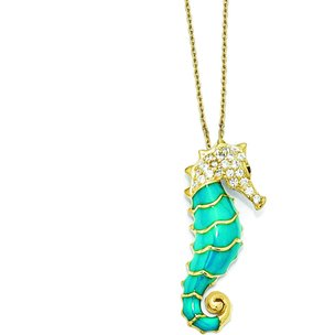 Sterling Silver Gold Plated CZ Seahorse Pendant