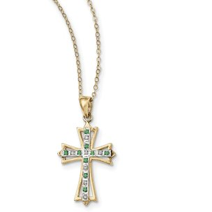Ster Silver Gold Plated IJ| Diamond & Emerald Cross Pendant