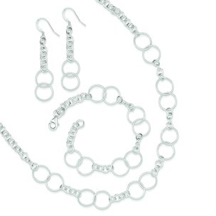 Sterling Silver Bracelet Earring and Necklace Set