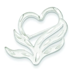 Sterling Silver Diamond Cut Heart Pin Brooch Jewelry