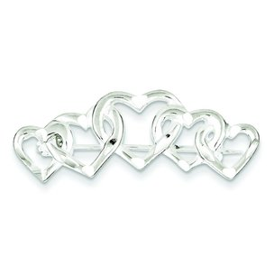 Sterling Silver Five Hearts Pin Brooch Love Jewelry