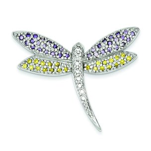 Sterling Silver Cubic Zirconia Dragonfly Pin