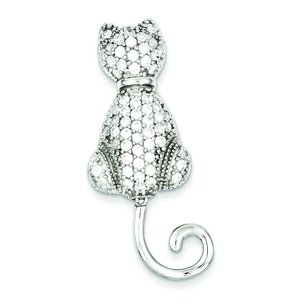 Sterling Silver Cubic Zirconia  Cat  Pin