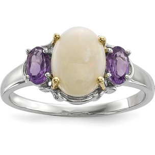 Sterling Silver 14K Gold Amethyst & Opal Fashion Ring (Sizes 6 to 8)