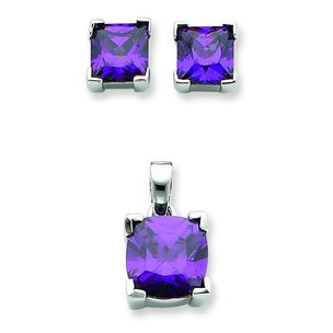 Sterling Silver CZ Square Earring and Pendant Set