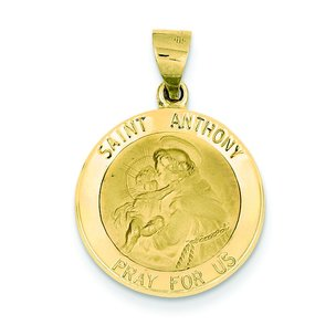 14K Gold Saint Anthony Medal Pendant