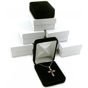 6 Black Velvet Pendant Earring Gift Boxes Showcase Displays